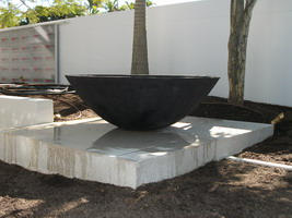 large planter bowl, black scoria lava stone finish