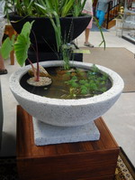 small size garden or interior water bowl with base, off white lava stone finish