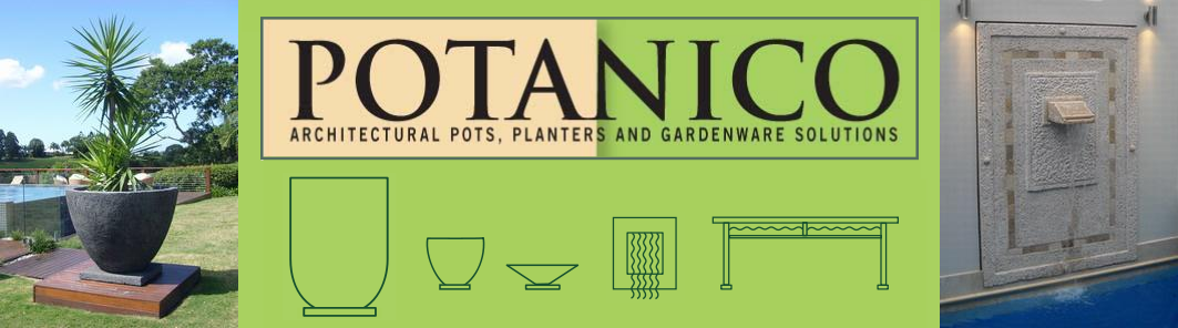 Potanico - creators of large designer landscape Pots. Big garden architectural pots horticulturally designed for trees and large plants.