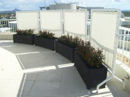 rectangle roof top garden planters, black lava stone finish