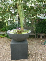 Charcoal lava finish bowl water feature on plinth, charcoal volcanic scoria finish.