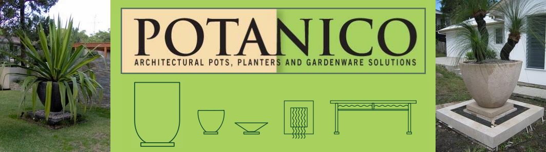 Potanico are creators of custom outdoor garden tables and chairs, half pots and planters, corner pots and large garden planter urns.